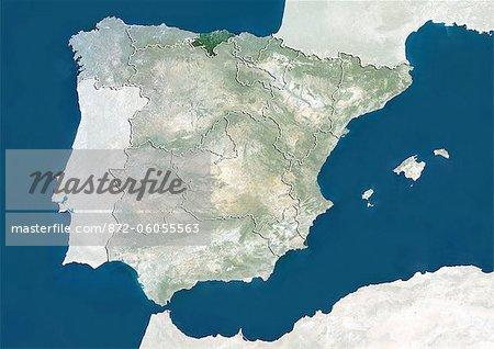 Espagne et la région de Cantabrie, True Image Satellite en couleurs