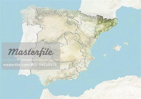 Espagne et la région de Catalogne, carte en Relief