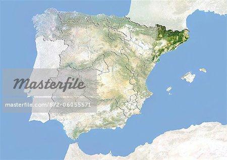 Espagne et la région de la Catalogne, Image Satellite avec effet de relief