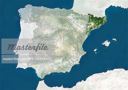 Espagne et la région de la Catalogne, True Image Satellite en couleurs