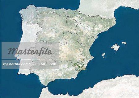 Spain and the Region of Murcia, True Colour Satellite Image