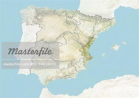 Espagne et la région de Valence, carte de Relief
