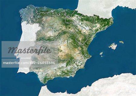 Espagne, True Image Satellite couleur avec les frontières de la région