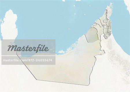 Émirats Arabes Unis et l'émirat de Dubaï, le plan-Relief