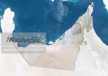 Émirats Arabes Unis et l'émirat de Dubaï, True Image Satellite en couleurs