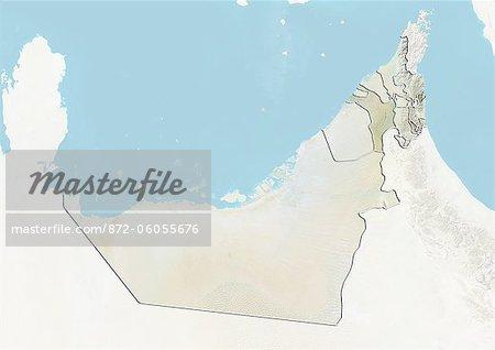 Émirats Arabes Unis et l'émirat de Sharjah, carte en Relief