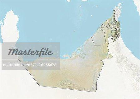 Émirats Arabes Unis, carte en Relief avec les limites de l'émirat