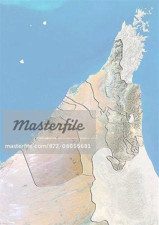 L'émirat de Dubaï et des Émirats Arabes Unis du Nord, Image Satellite avec effet de relief