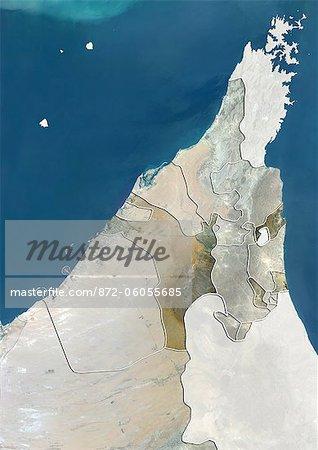 L'émirat de Sharjah et Émirats Arabes Unis du Nord, True Image Satellite couleur