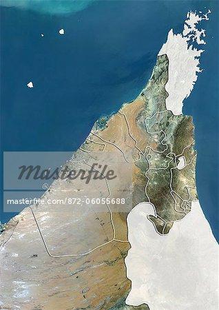 Les Émirats de Dubaï et Sharjah et Émirats Arabes Unis du Nord, True Image Satellite couleur