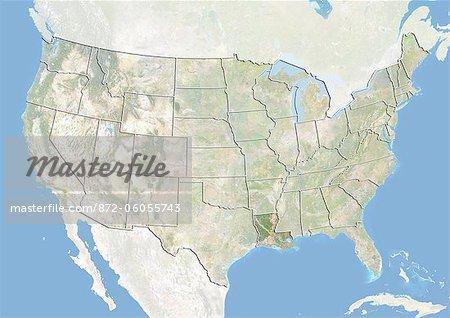 Des États-Unis et l'état de la Louisiane, Image Satellite avec effet de relief