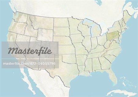Des États-Unis et l'état de Pennsylvanie, carte en Relief