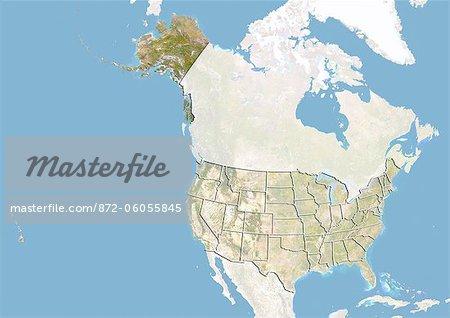 Des États-Unis et l'état de l'Alaska, Image Satellite avec effet de relief