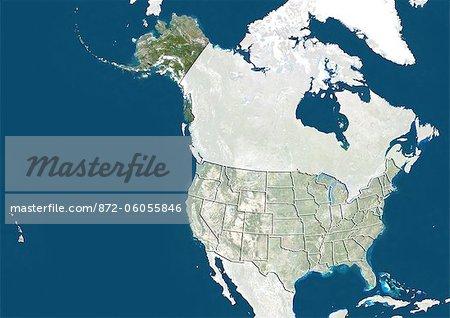 Aux États-Unis et l'Alaska, Image Satellite de la couleur vraie