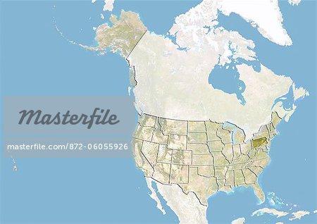 Des États-Unis et l'état de Pennsylvanie, Image Satellite avec effet de relief