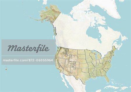 Aux États-Unis, carte en Relief avec les frontières des États membres