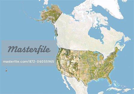 Aux États-Unis, Image Satellite avec effet de relief et les frontières des États membres