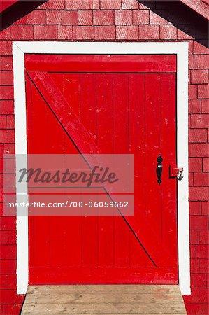 Close-Up of Red Door, La Martre Lighthouse, Gaspesie, Quebec, Canada