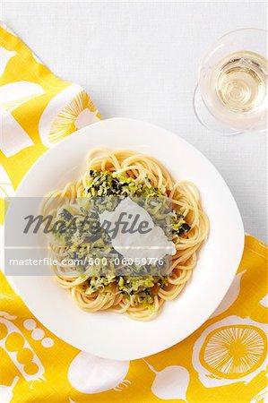 Lauch und Petersilie Nudeln mit Mascarpone Käse