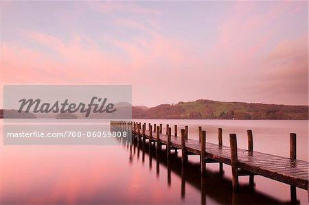 Wooden Dock at Dawn, Derwentwater, Lake District, Cumbria, England