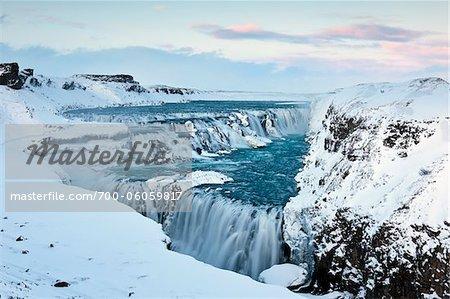 Gullfoss chute d'eau en hiver, la rivière Hvita, Islande