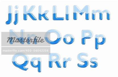 Set of glass letters half-full of blue liquid