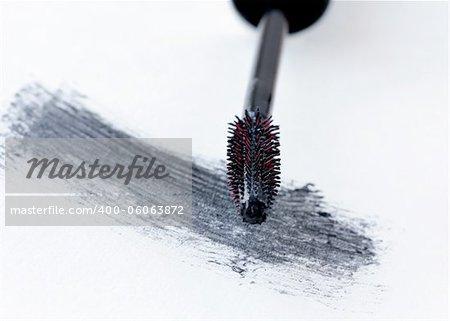 brush with black mascara  for makeup