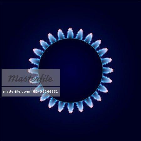 Gas Camphor on Dark Blue Background. Vector Illustration