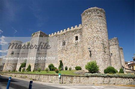 view of public castle in Arenas de San Pedro city at Avila Spain