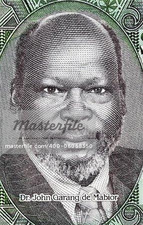 John Garang de Mabior (1945-2005) on 1 Pound 2011 Banknote from South Sudan. Sudanese politician and rebel leader.