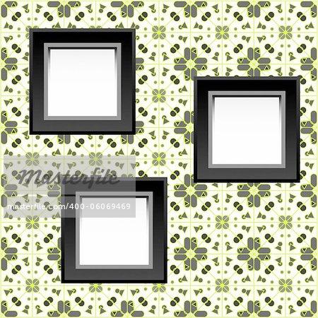 three blank white frames on baroque wallpaper. vector illustration