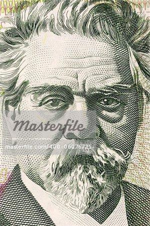 Juan Zorrilla de San Martin (1855-1931) on 20 Pesos Uruguayos 2008 Banknote from Uruguay. National Poet of Uruguay and political figure.