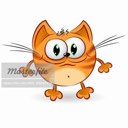 Happy cartoon ginger cat. Illustration on white background for design