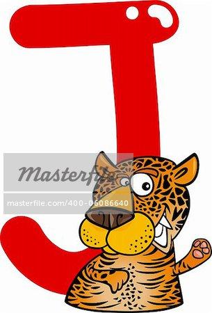 cartoon illustration of J letter for jaguar