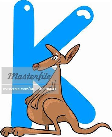 cartoon illustration of K letter for kangaroo