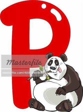 cartoon illustration of P letter for panda