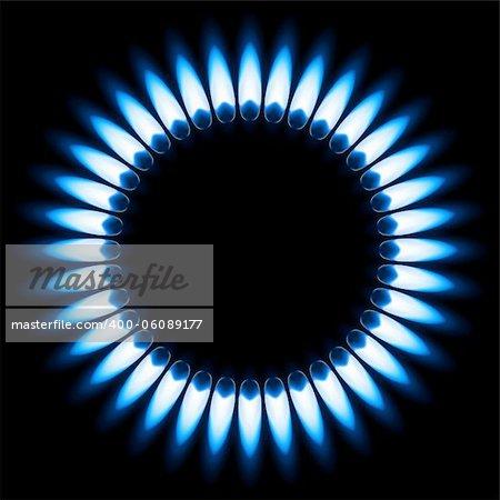 Blue Gas Flame. Illustration on black background