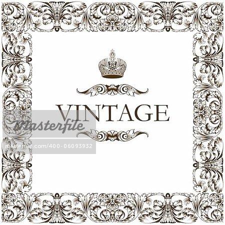 Vintage frame decor ornament vector