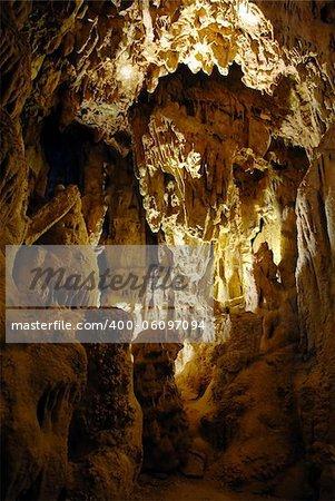 stalactites and stalagmites in Resava Cave in Serbia
