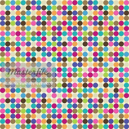 Vintage colorful illustration of circle seamless pattern