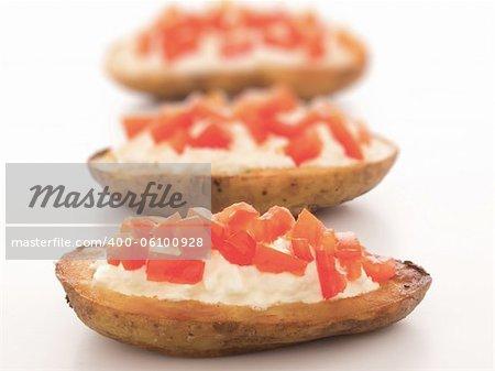 close up of potato skins