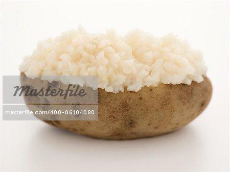 close up of a baked potato