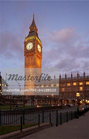 Big Ben and Westminster Palace at Dusk, London, England
