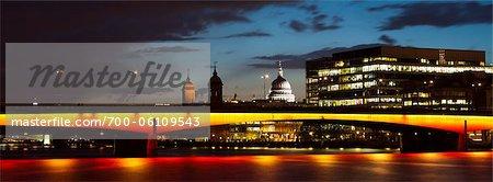 London Bridge and St Pauls Cathedral at Night, London, England