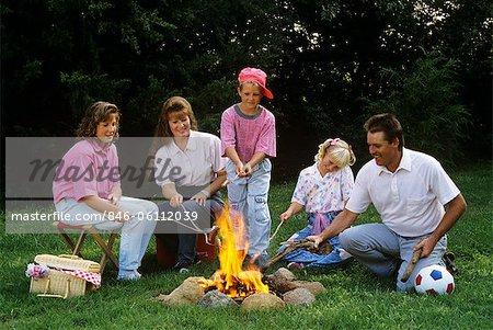 FAMILLE DES ANNÉES 1990, TORRÉFACTION HOT DOGS ON COLLE SUR FEU DE CAMP