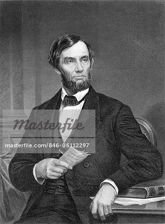 ANNÉES 1860 DU XIXE SIÈCLE PORTRAIT ABRAHAM LINCOLN PRÉSIDENT HOLDING LA PROCLAMATION D'ÉMANCIPATION