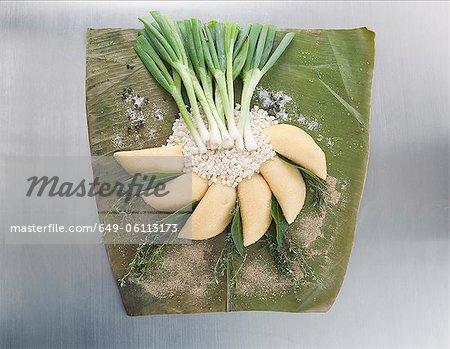 Légumes et céréales sur emballage