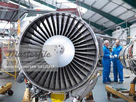 Close up of airplane engine