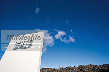 Sign for Blue Lagoon geothermal spa, Grindavik, Iceland