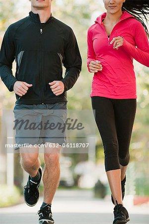 Paar jogging nebeneinander, zugeschnitten